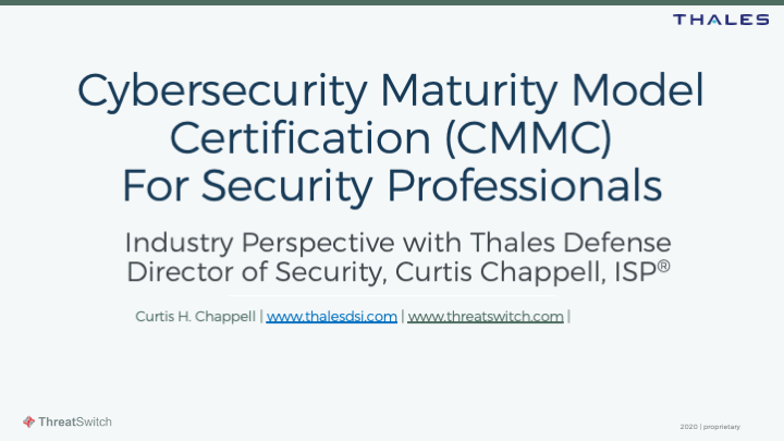CMMC May Webinar Threatswitch 2020 - Curtis