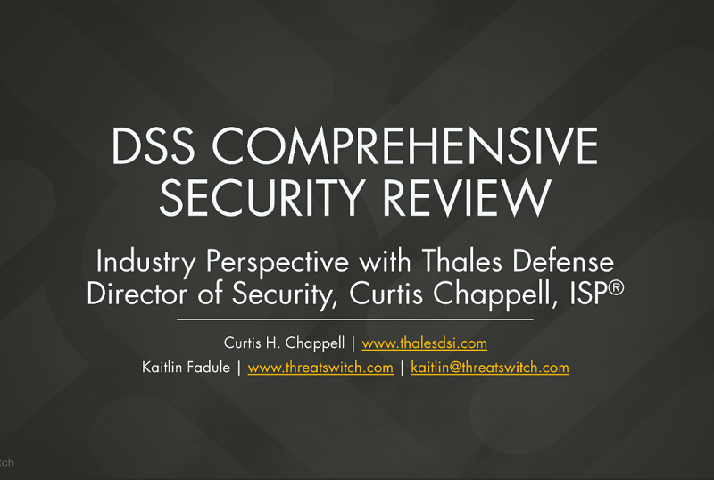 DCSA Comprehensive Security Review Webinar